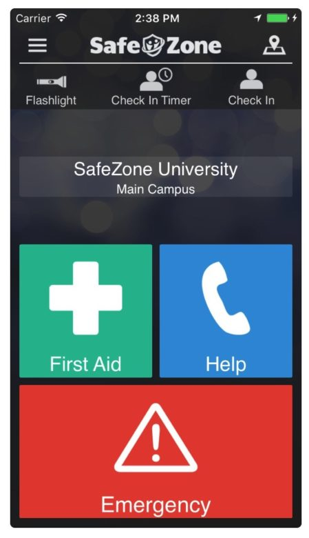 A screenshot of the SafeZone app.