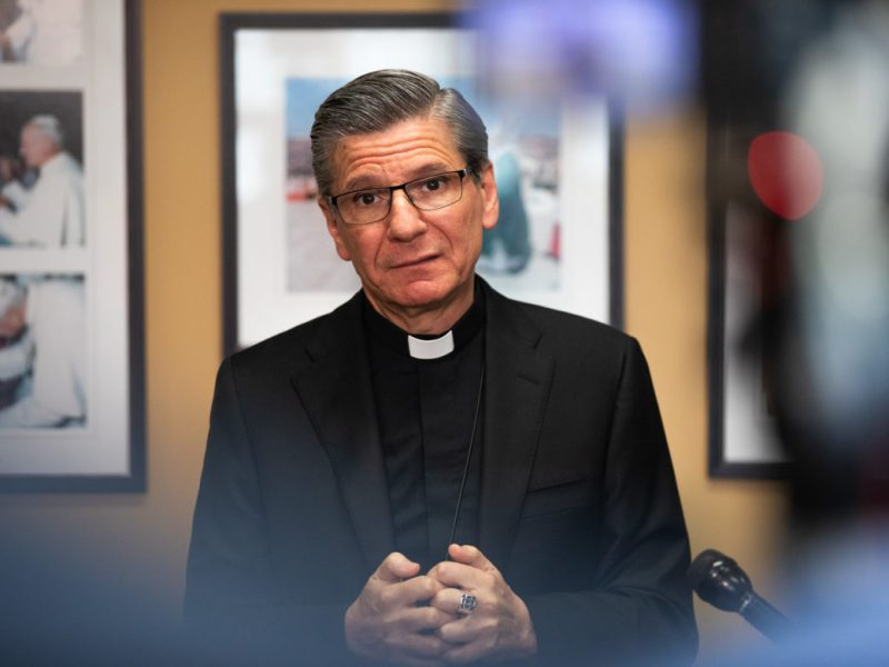 Archbishop Gustavo García-Siller speaks to the media following the release of a report detailing credible allegations of sexual misconduct from priests of the Catholic Church dating back to 1940 in San Antonio.