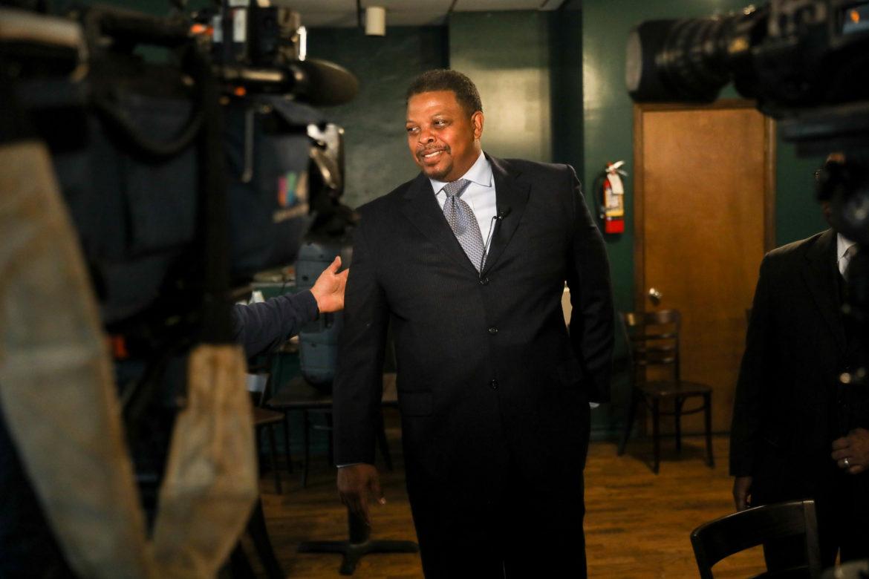 District 2 candidate Dereck Hillyer is interviewed by local media.