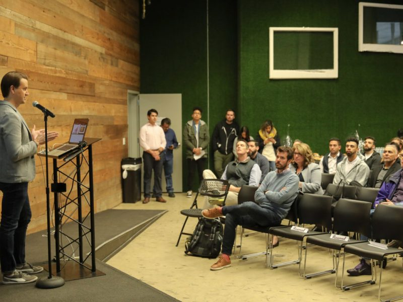 Techbloc Co-Founder David Heard addresses the tech community during the Geekdom State of the Ecosystem.