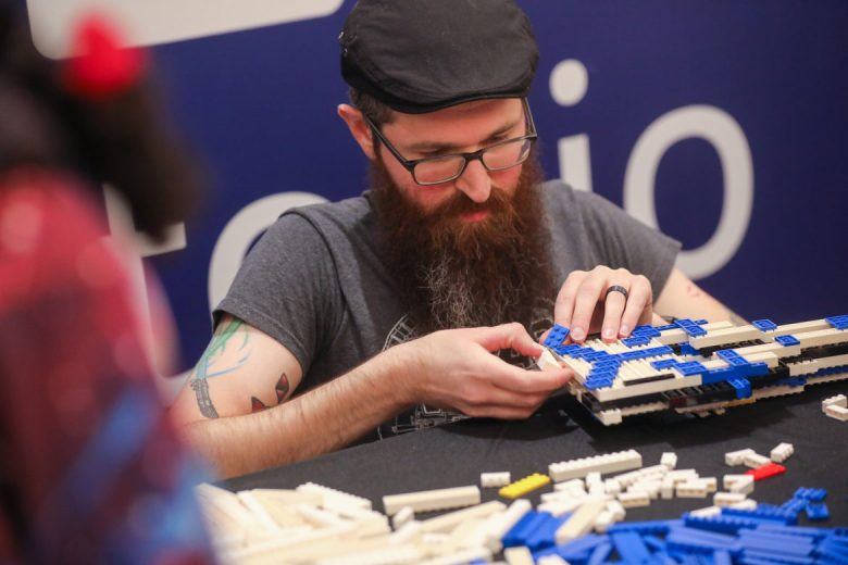 James Keeling erects a space ship from Lego.