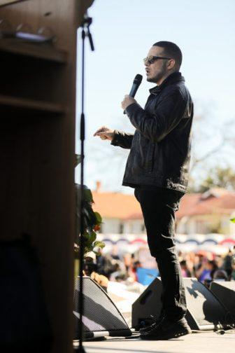 Shaun King gives his keynote address at the end of the MLK March at Pittman-Sullivan Park.