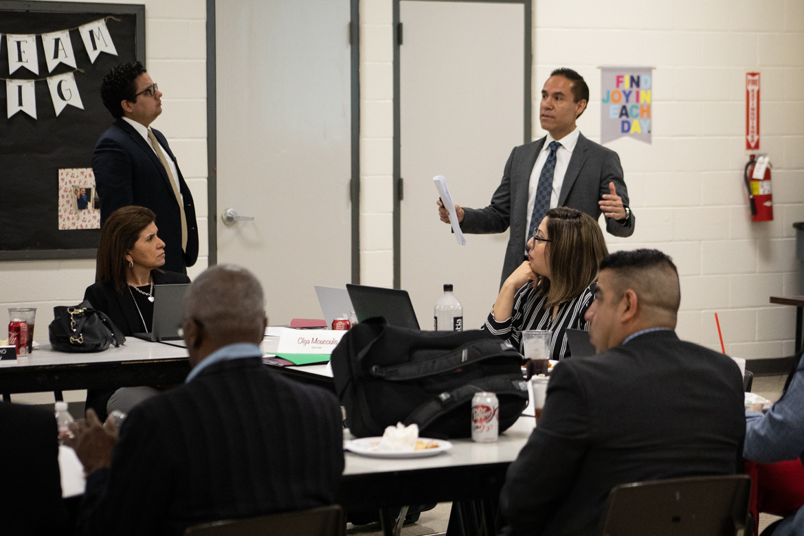 Edgewood Independent School District governing board is instructed by Board counsel Juan Cruz on the two ways they canfill a board vacancy.