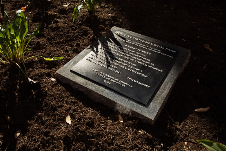 A new plaque dedicated to Wade Richmond in Wade Richmond Memorial Park.