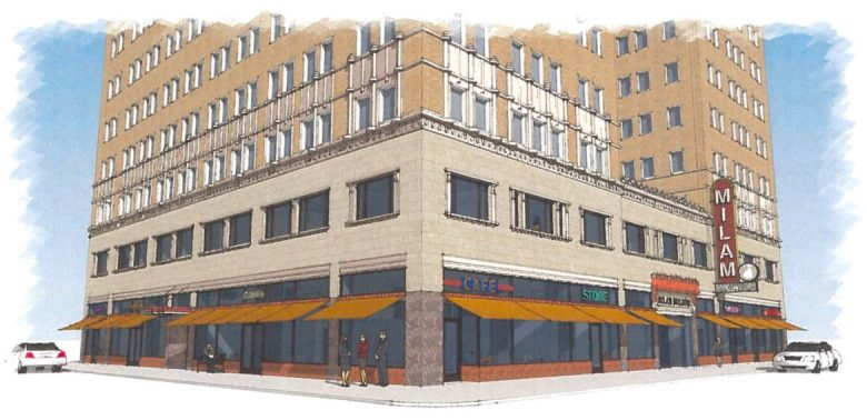 A rendering of the renovated Milam Building looking northeast.