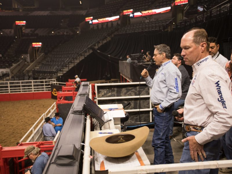 (From left) San Antonio Stock Show & Rodeo announcers Randy Corley and Wayne Brooks.