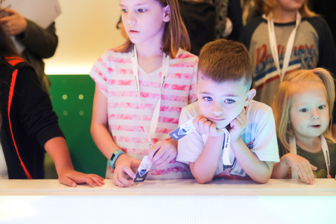 Children interact with various web literacy programming during Google's Be Internet Awesome pop-up at Sunset Station.
