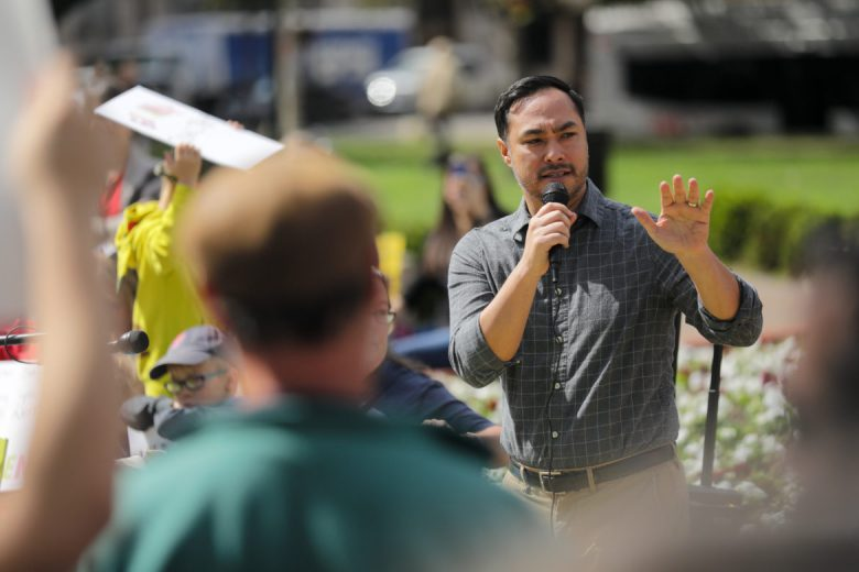 United States Representative Joaquin Castro (D20) speaks against the President during the protest.