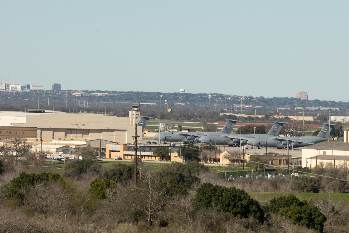 Lackland Air Force Base as seen from Pearsall Park.