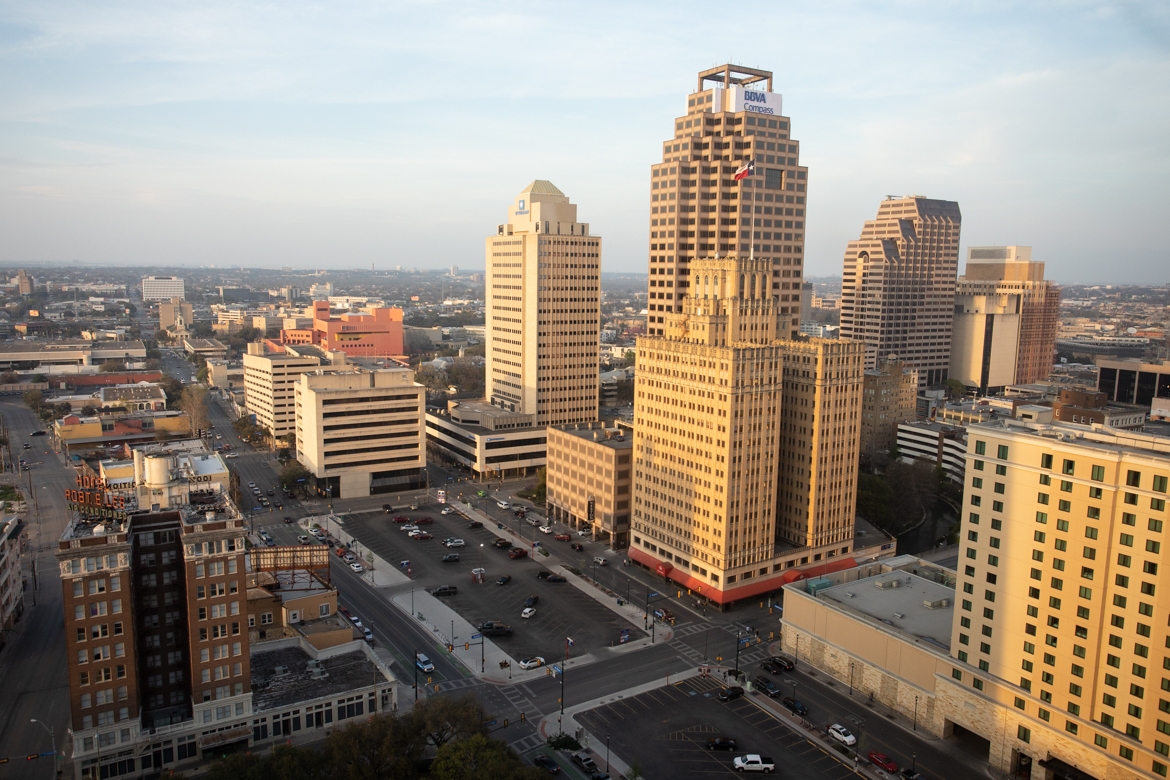 Part of the San Antonio downtown skyline taken from the Plaza Club at Frost Bank Tower.