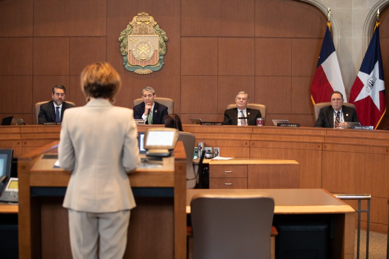 Outgoing City Manager Sheryl Sculley gives a speech to city council.