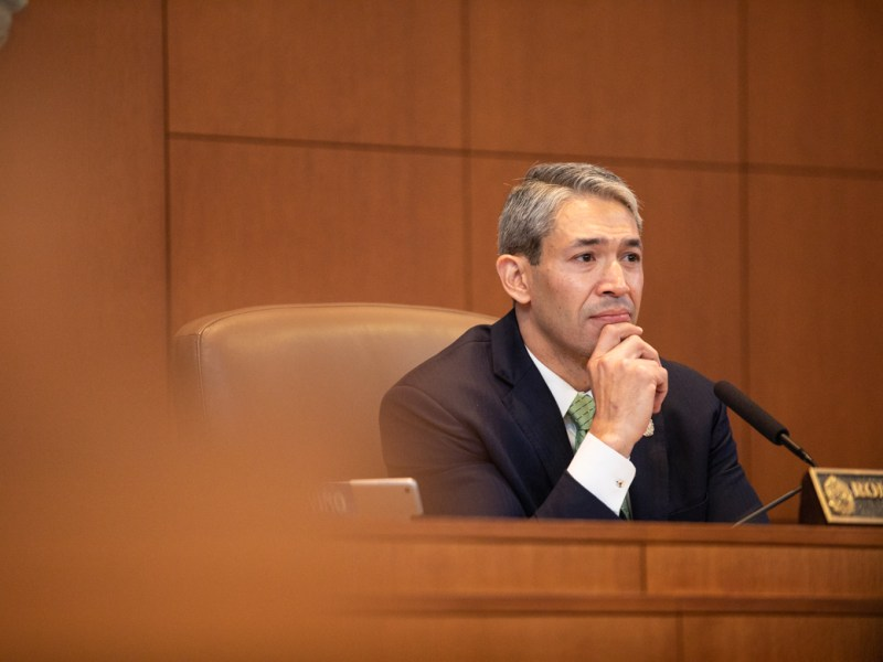 Mayor Ron Nirenberg listens to outgoing City Manager Sheryl Sculley's speech.