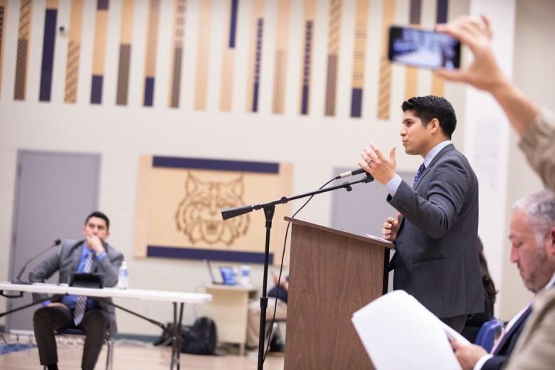 Councilman Rey Saldaña urges the South San ISD board to transform the school into a community center.