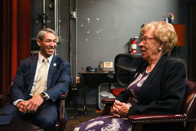 (From left) Mayor Ron Nirenberg and Eva Schloss share a laugh backstage before her presentation.