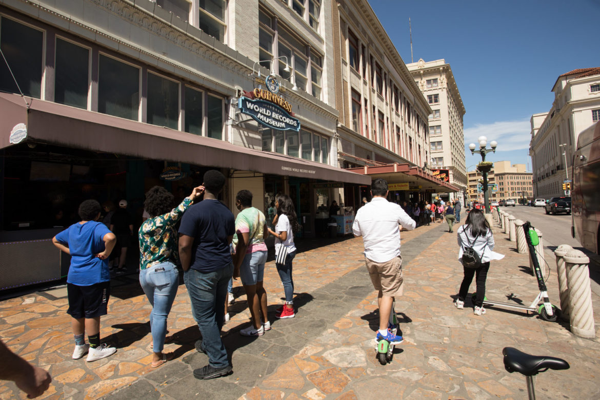 Alamo Plaza in front of Guinness World Records Museum is crowded during spring break.