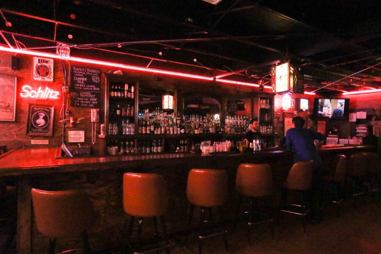 The bar in the Lonesome Rose.