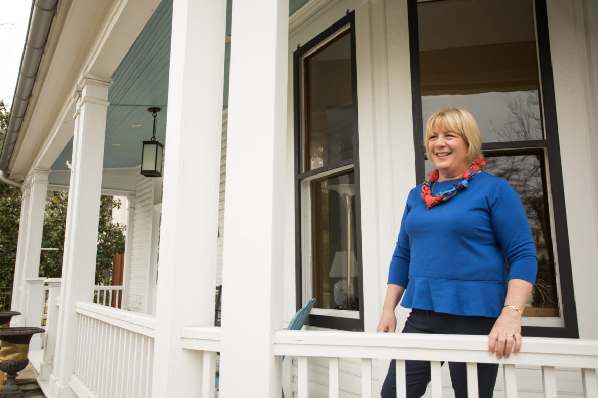 Shelley Galbraith on her front porch in King William.