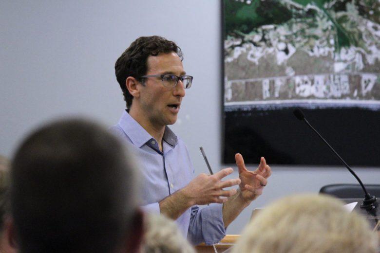 Port of Corpus Christi community planner Jeff Pollack speaks at a Port Aransas City Council meeting.