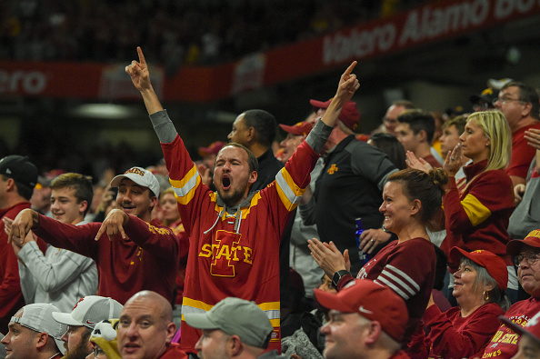 Wild Iowa State fans celebrate a second half Cyclone touchdown during the football game between the Iowa State Cyclones and the Washington State Cougars on December 28, 2018 at the Alamodome in San Antonio, Texas.