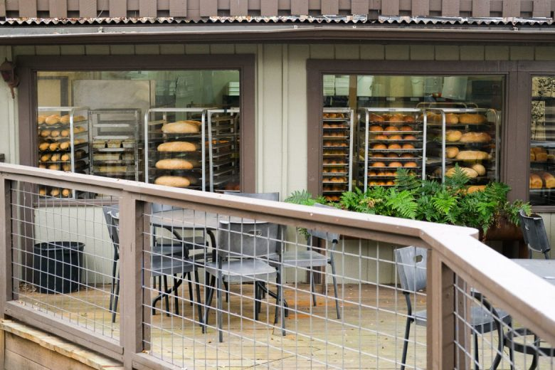 In the afternoons The Bread Box windows are lined with freshly bakes bread awaiting shipment.