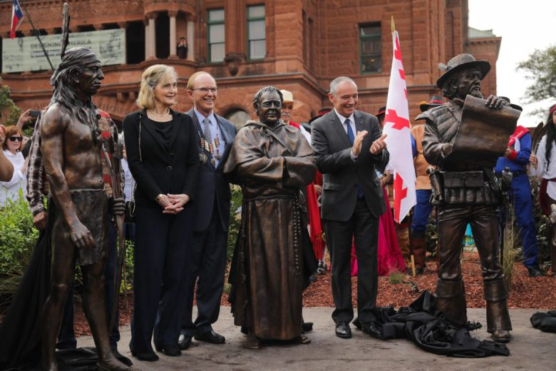 The Bexar County Founders Monument is unveiled for the first time in it's permanent location of the Bexar County Courthouse.