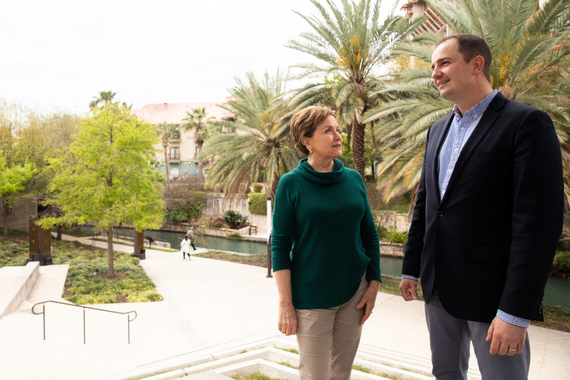 San Antonio Symphony Board Chair Kathleen Vale and Executive Director Corey Cowart stand outside the Tobin Center.