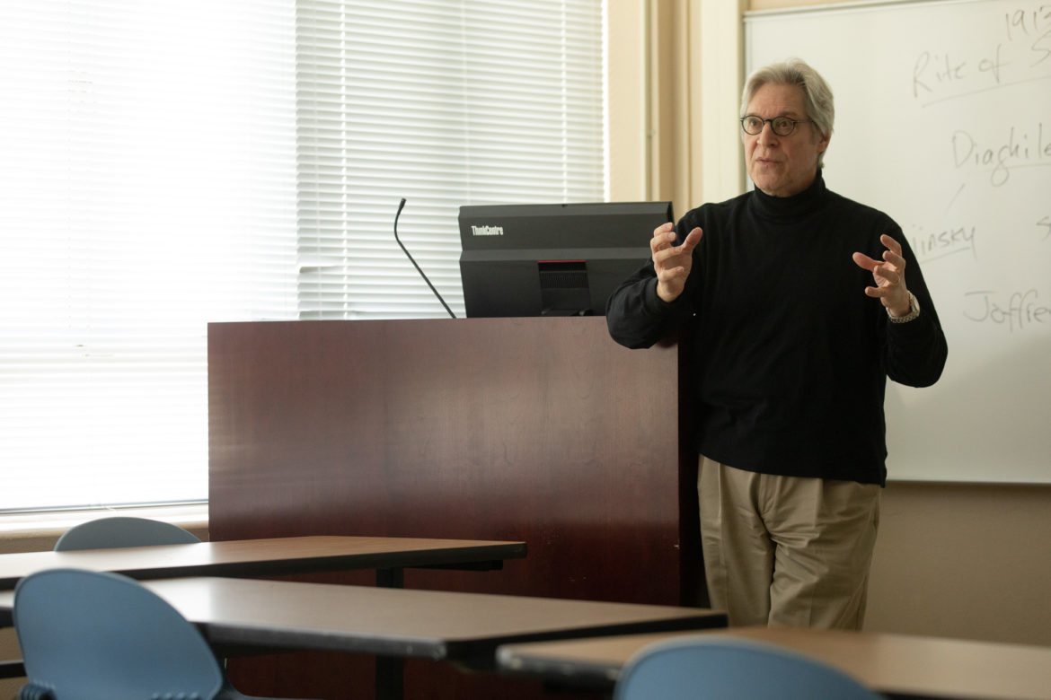 Bruce Rosenthal, business school dean at Our Lady of the Lake University teaches a class based around classical ballet and modern dance.