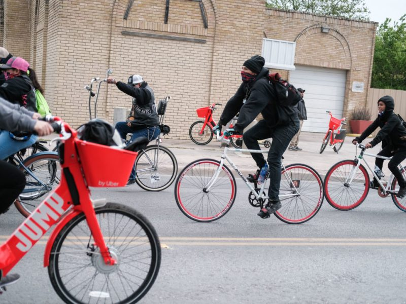 Man powered cyclists shared the roads with electric Jump bikes which were found along the route.