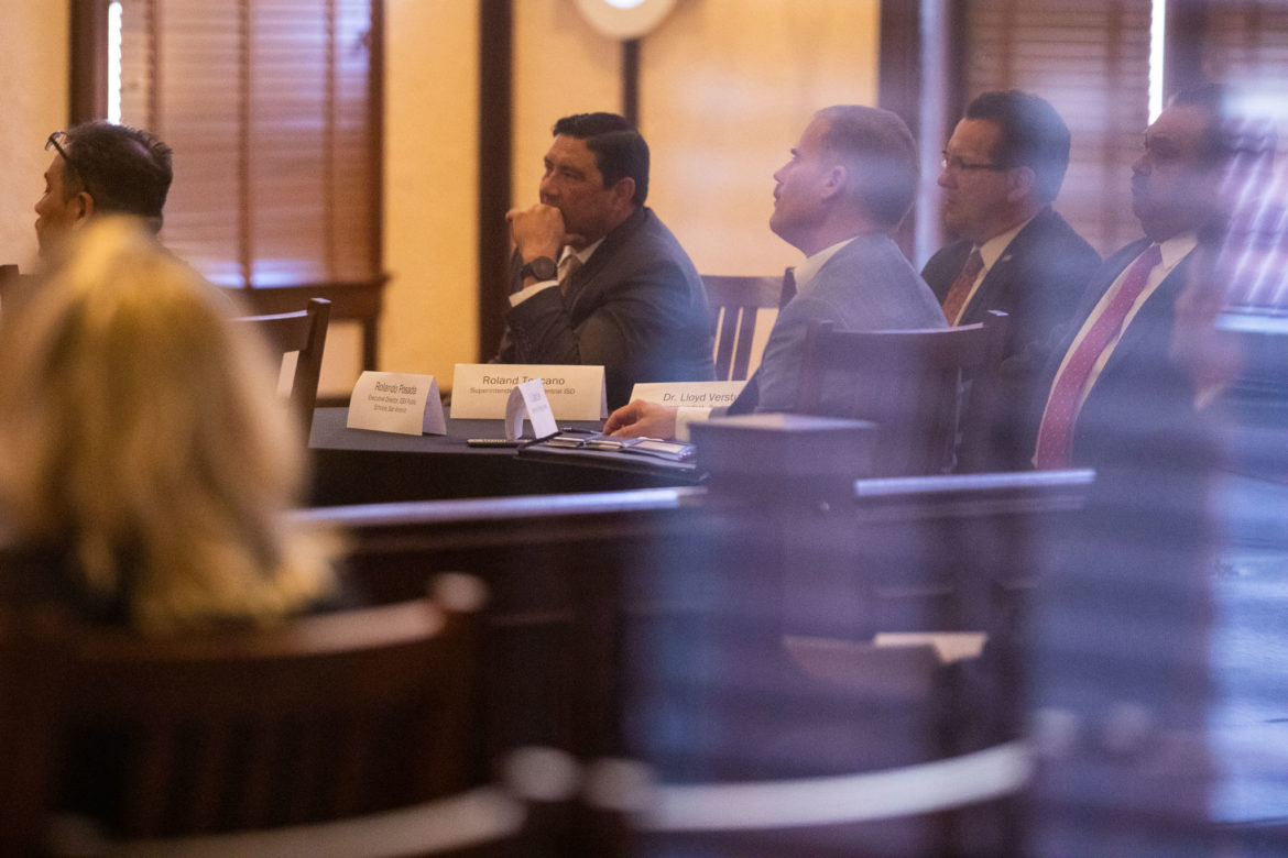 Area superintendents gather at the Bexar County Courthouse during a school finance meeting in March.