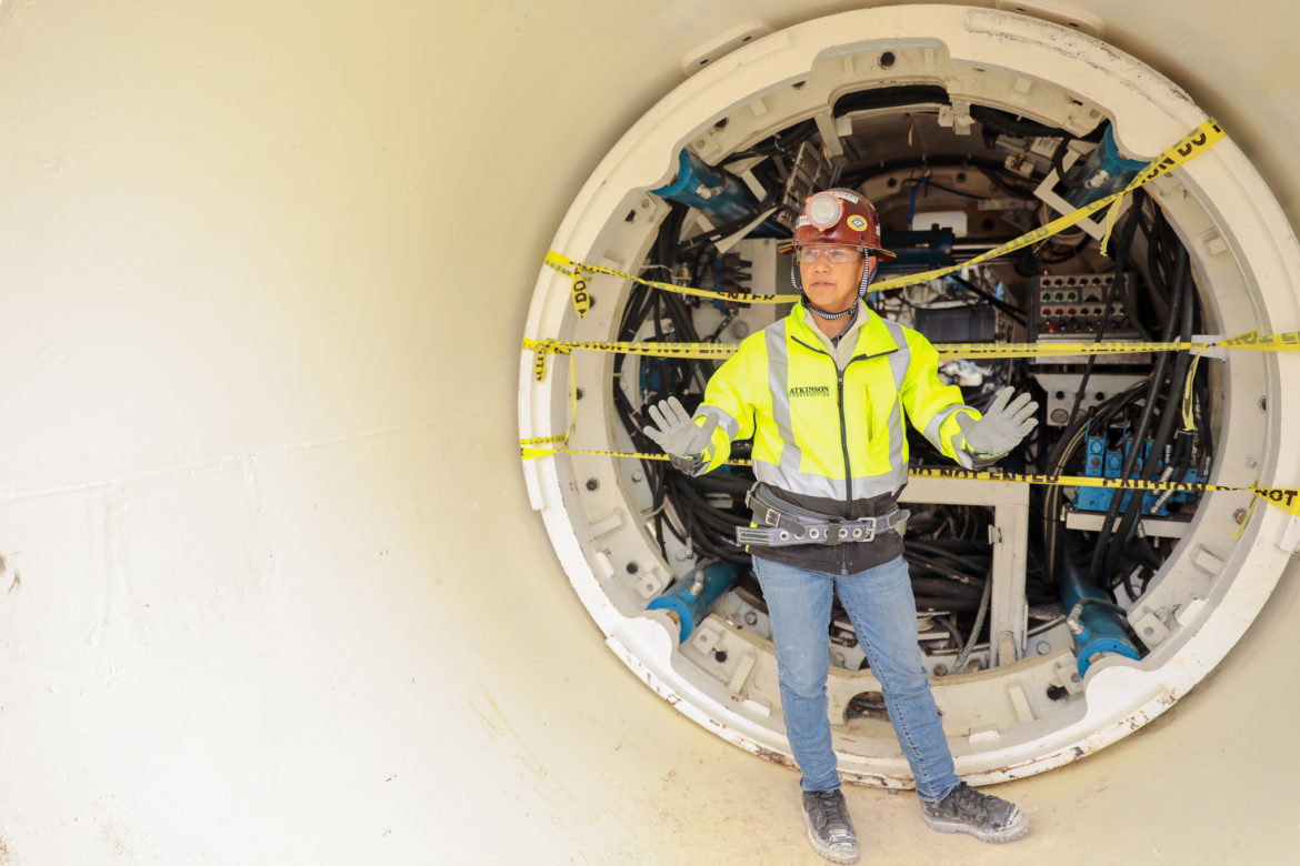 Project Design Manager Lizan Gilbert explains the processes and uses of the tunnel boring machine.