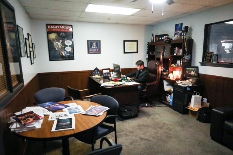 Alamo City Studios CEO Kerry Valderrama works in his office.