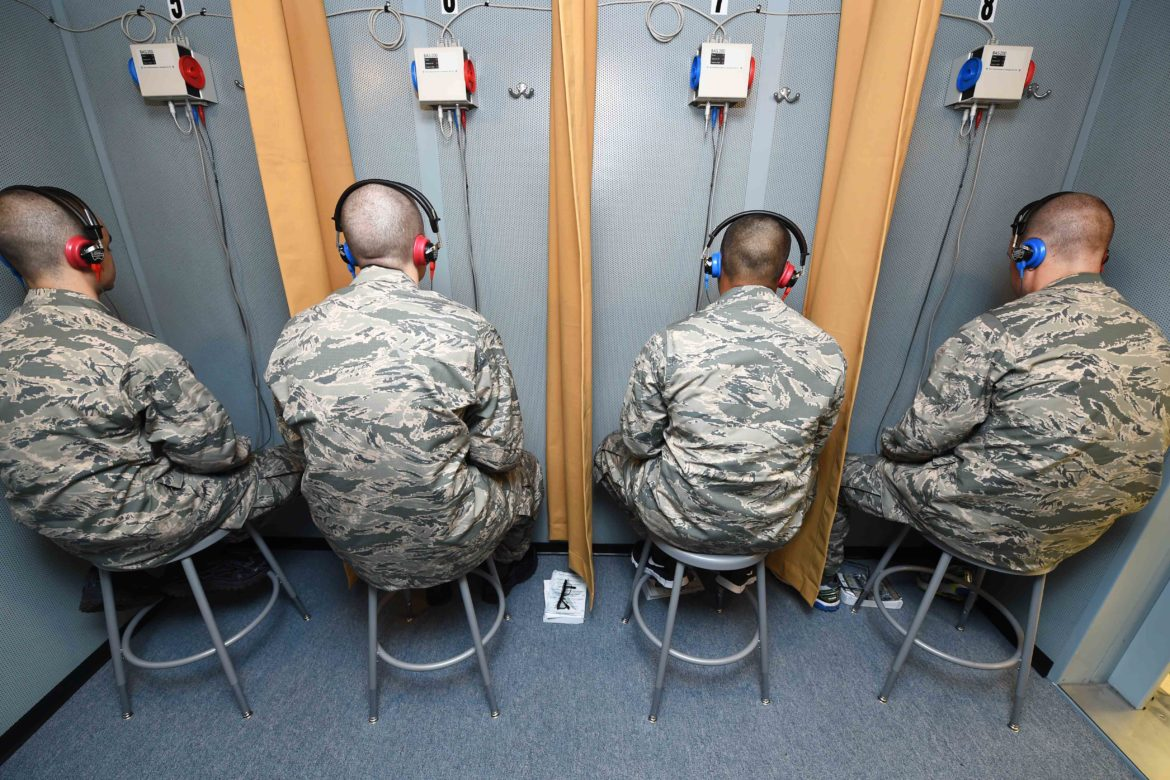 Basic Military Trainees take a baseline hearing assessment May 12, 2015, on Joint Base San Antonio-Lackland, Texas.
