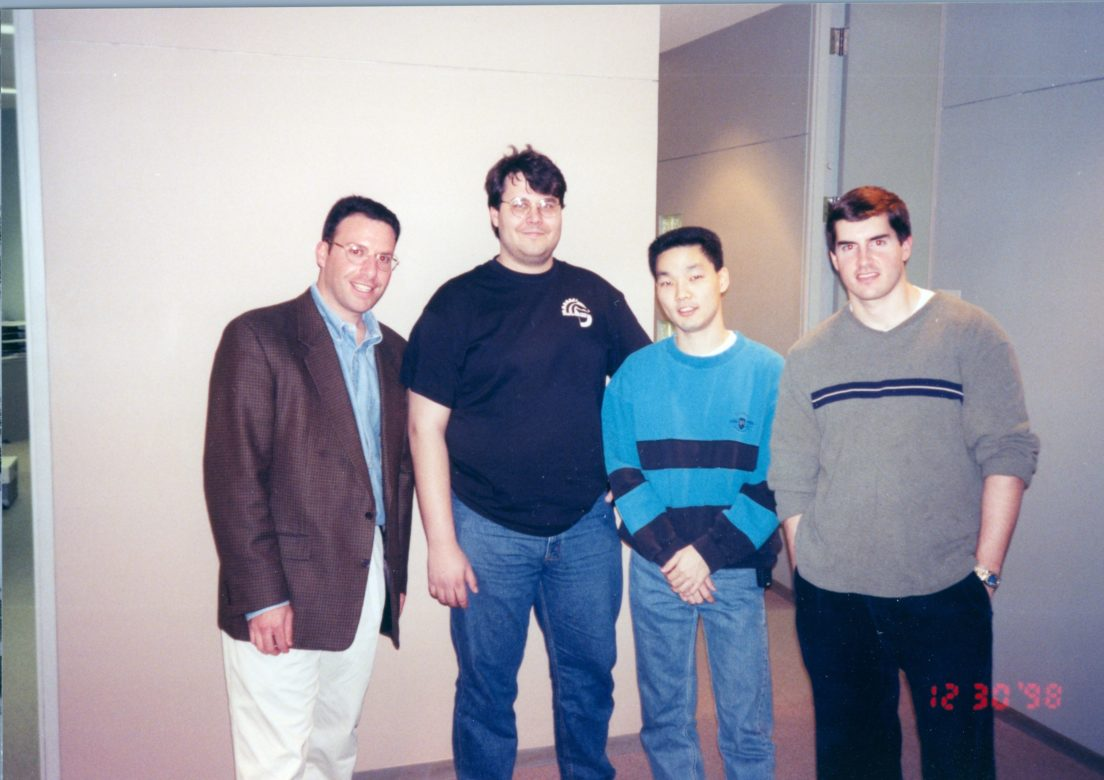 Rackspace Co-Founders (from left) Morris Miller, Dirk Elmendorf, Richard Yoo, and Pat Condon stand for a photograph in the early days of the company.