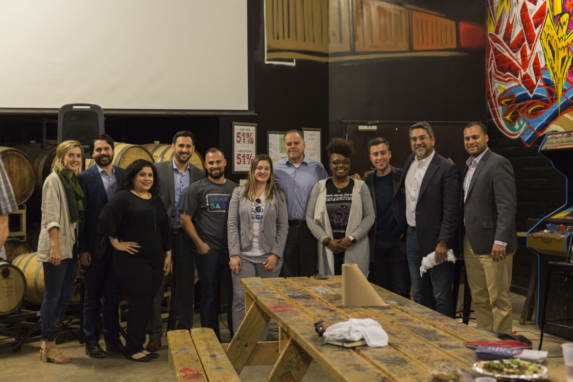 Members of the ReadySAGo team pose with panelists from the inaugural Transit on Tap event at Freetail Brewing Co.