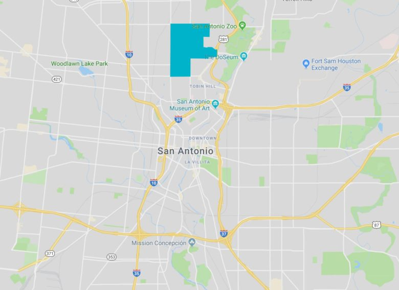 The Monte Vista neighborhood in San Antonio is shaded in blue.