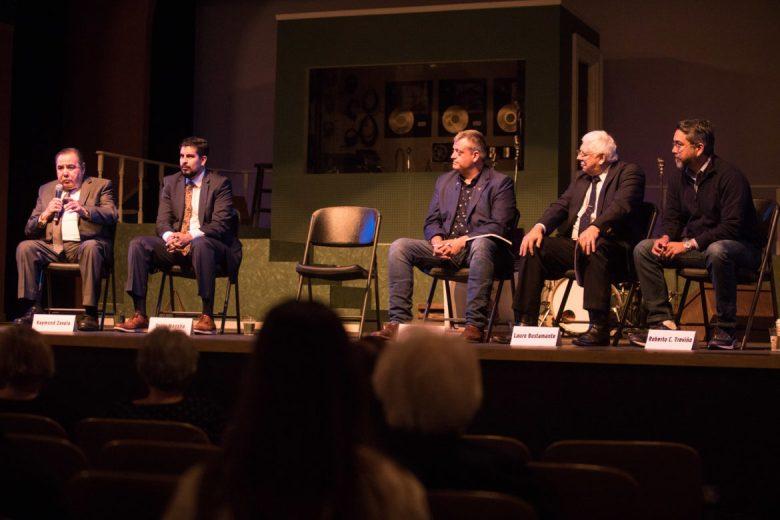 (From left) City Council District 1 candidates Raymond Zavala, Oscar Magaña, Justin Holley, Lauro Bustamante, and Roberto Treviño.