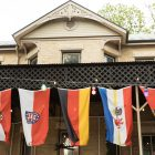 German flags line the outside beer garden.