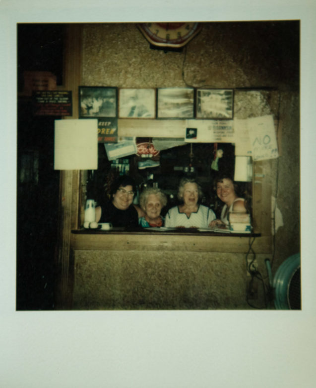 This polaroid, taken in the summer of 1977, shows four ladies in the Flame Room (from left) Hattie Jones (Glenn's wife), unknown, Gladys Blethen (Glenn's sister), and Kay Tankiewicz.
