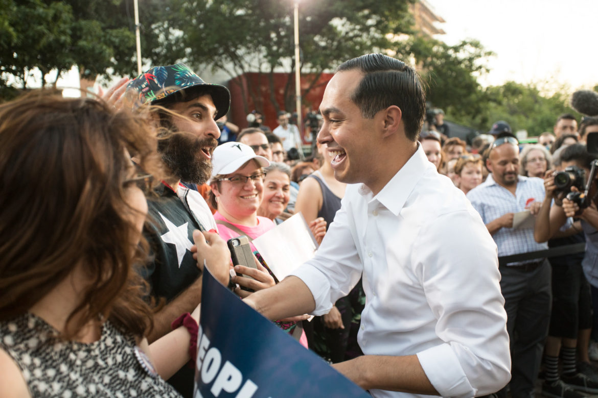 Julián Castro shakes hands of his supporters after speaking at the rally.