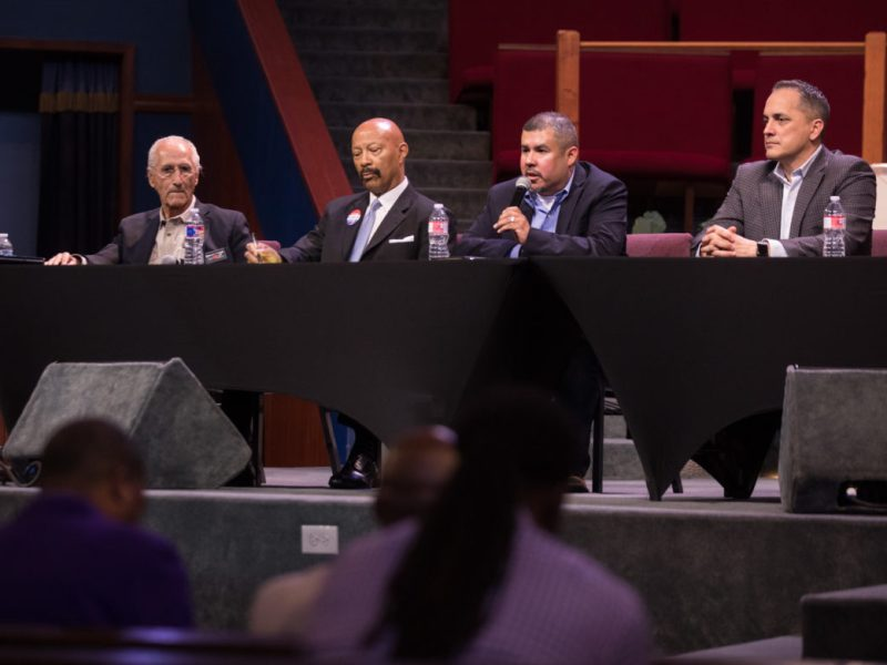 (From left) Mayoral candidates Bert Cecconi, Tim Atwood, Carlos Castanuela, and Greg Brockhouse.