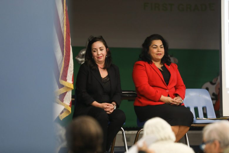(From left) D3 candidates for city council Elizabeth Campos and Councilwoman Rebecca Viagran (D3).