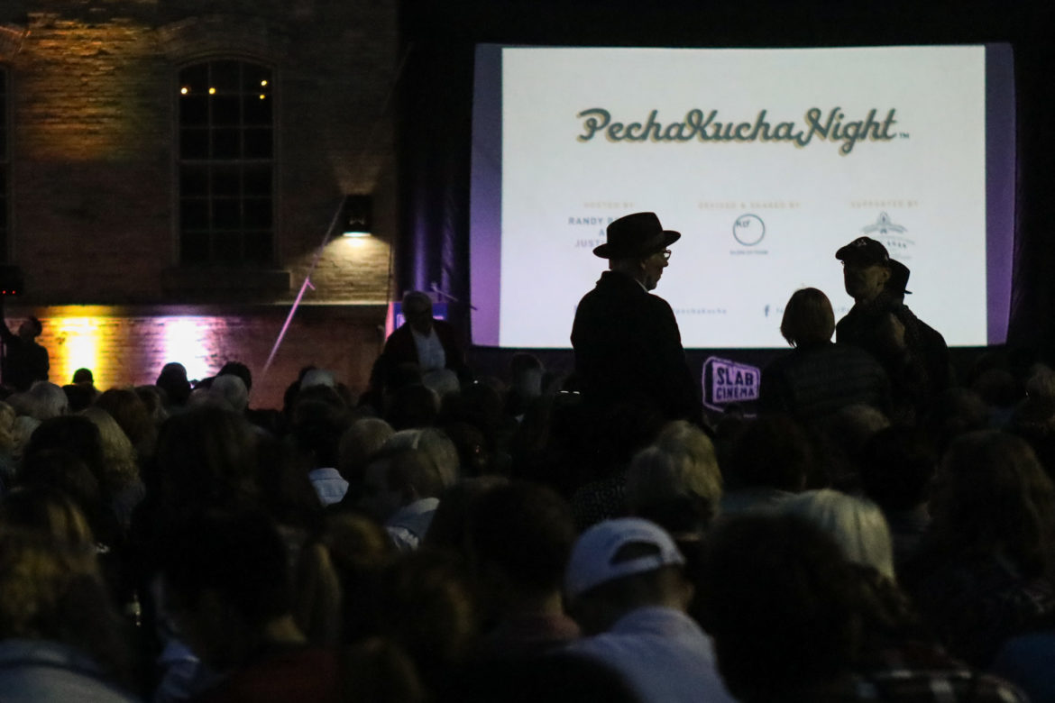 A large crowd fills the lawn outside of the San Antonio Museum of Art for PechaKucha Night.