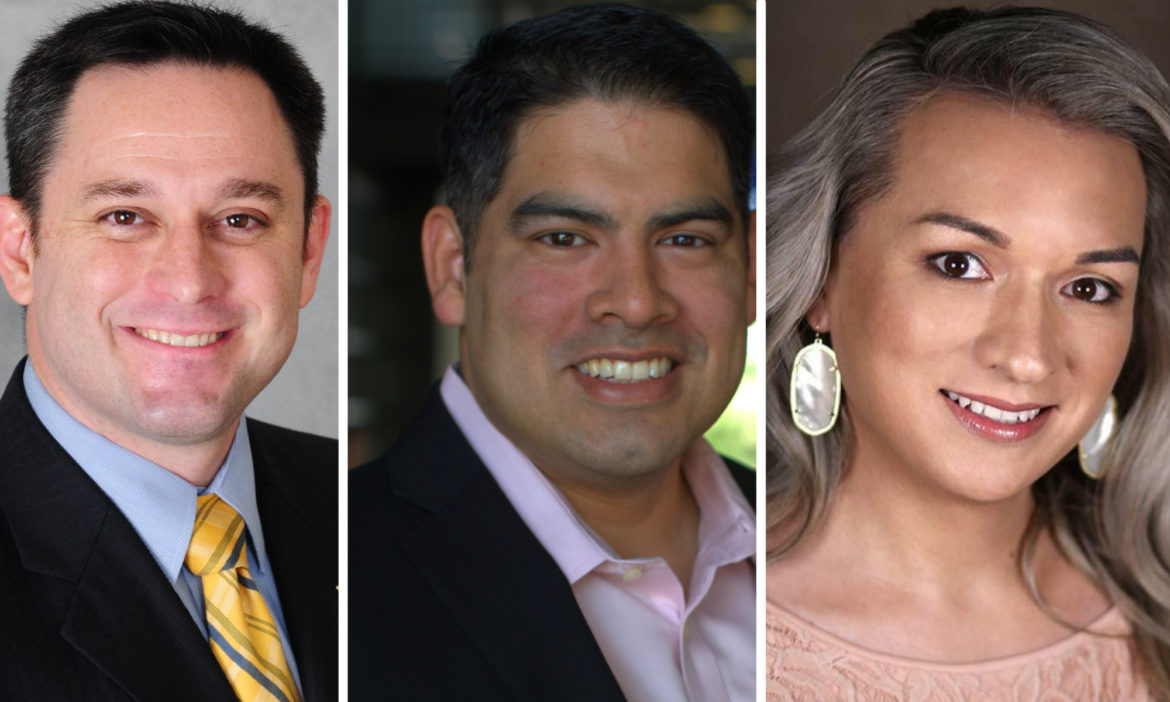 (from left) District 8 candidates Anthony Valdivia, Counciman Manny Pelaez, and Frankie Gonzalez - Wolfe