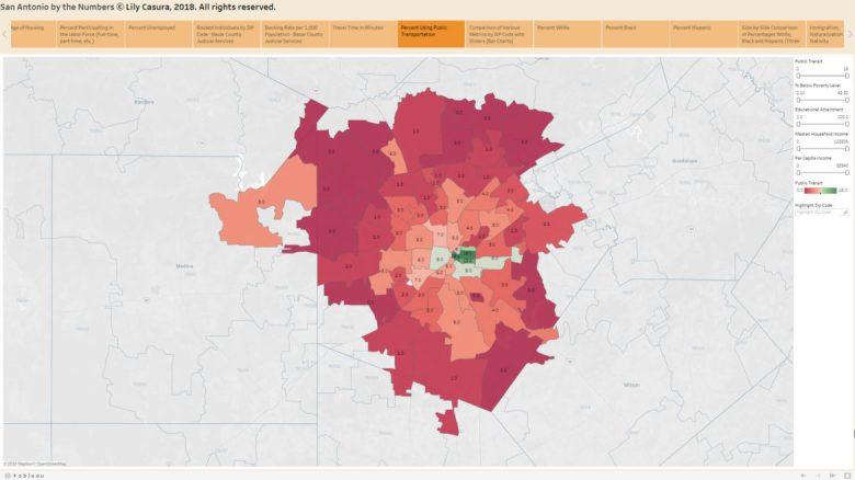 Percent Using Public Transportation from the American Community Survey, 2017 estimates.