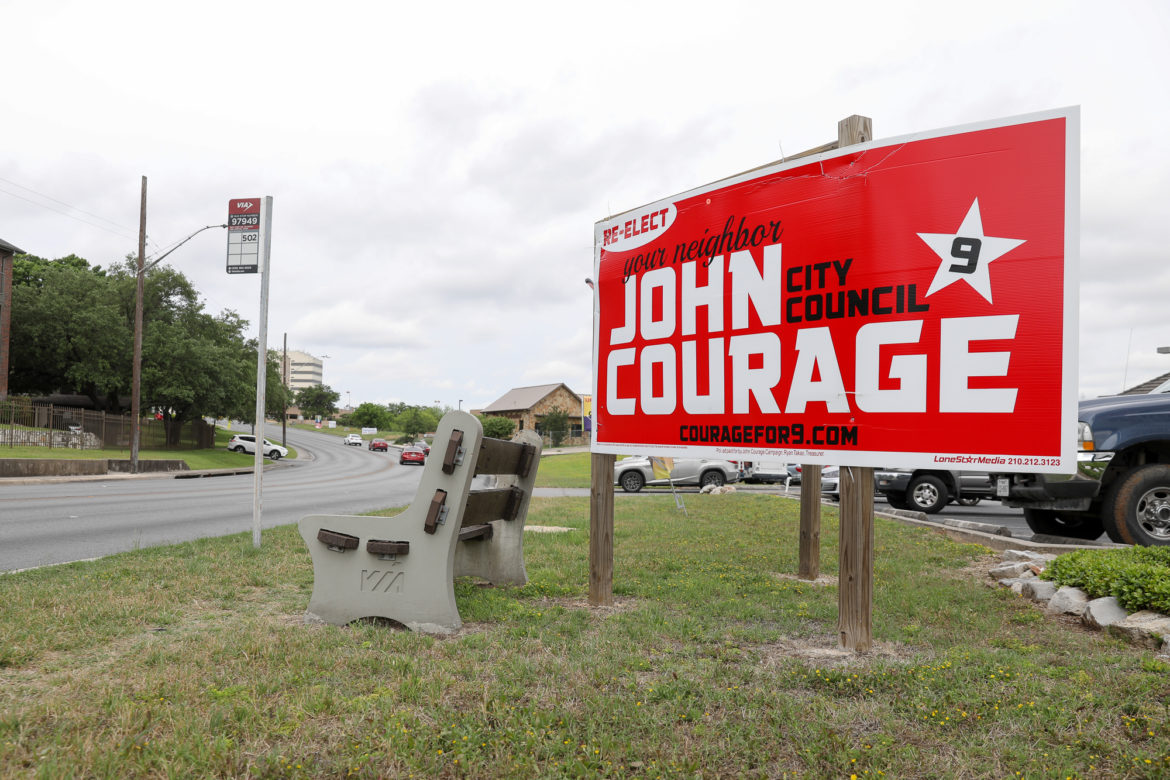 Campaign signage for Councilman John Courage (D9)