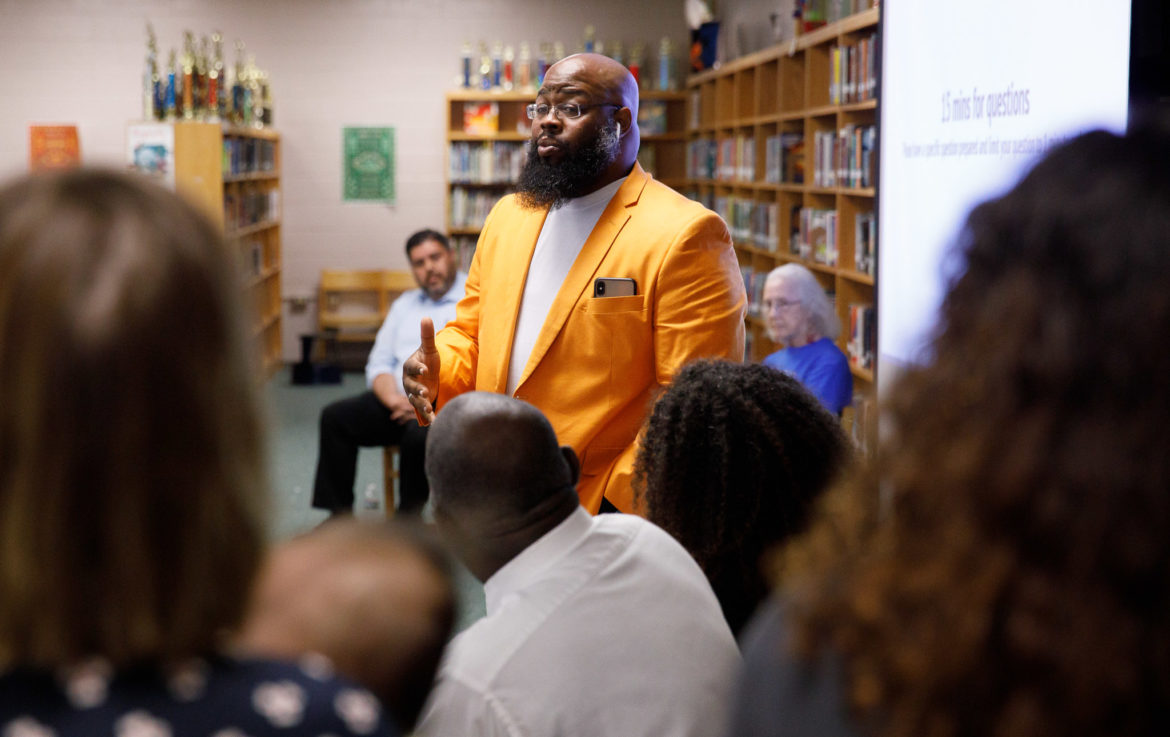 District 2 SAISD Board Trustee candidate Royce Sullivan speaks to his values and priorities during a town hall put on by SA RISE at Tafolla Middle School.