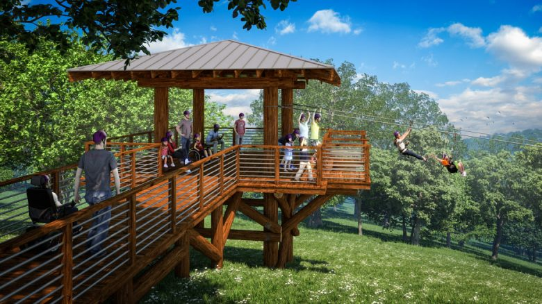A rendering of an accessible zip line at Morgan's Wonderland Camp.