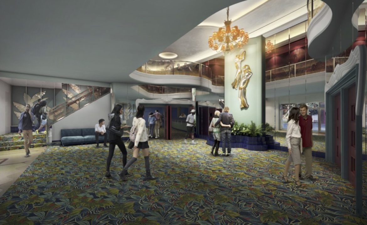 A conceptual rendering of the lobby inside the restored Alameda Theater.