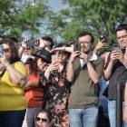 A large crowd gathers to watch Yo-Yo Ma's performance.