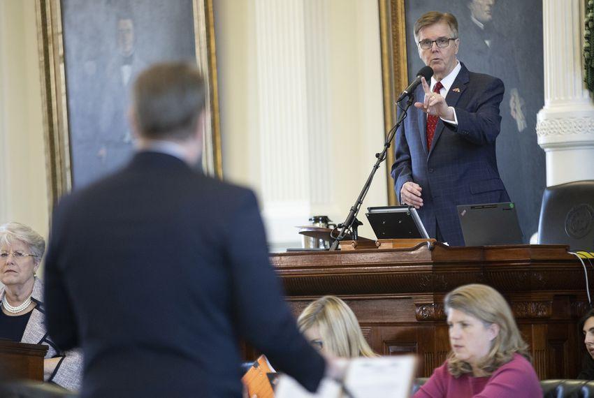 Lt. Gov. Dan Patrick speaks from the dais in the Senate chamber last month.